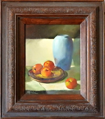 Blue Vase With Apples by Shirley Peel