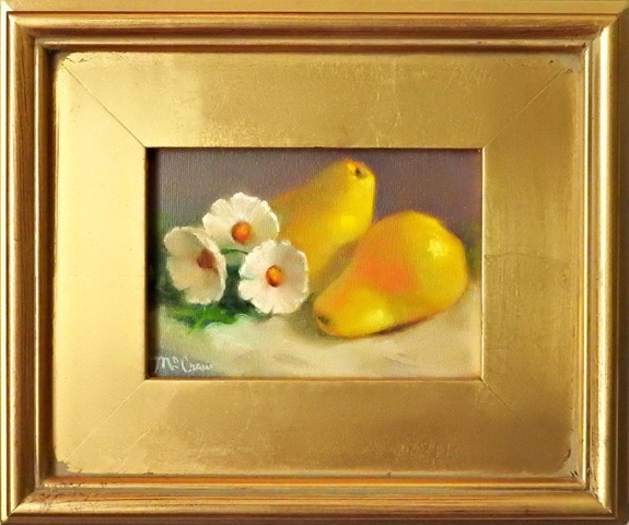 Yellow Pears With Flowers by Shirley Peel