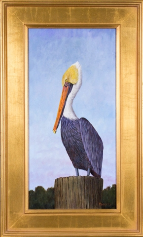 Brown Pelican  Oil by Albert Faggard