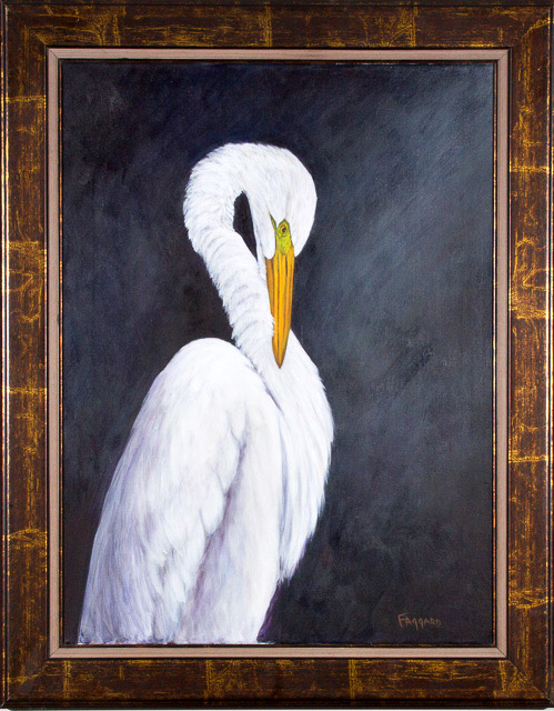 Great Egret  Oil by Albert Faggard