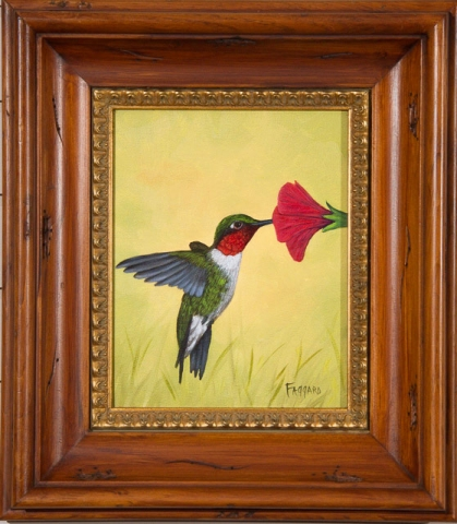 Ruby Throat Hummer  Oil by Albert Faggard