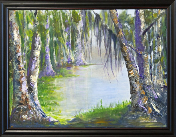 Honorable Mention - Catahoula Lake by Bonnie Thompson, Oil, $450