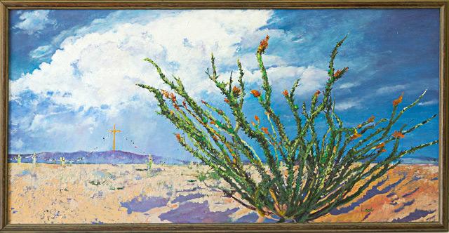 Ocotillo Christmas by Barbara Noll, Oil, $350