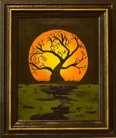 Tree & Moon by Nancy Bodden, Oil, $75