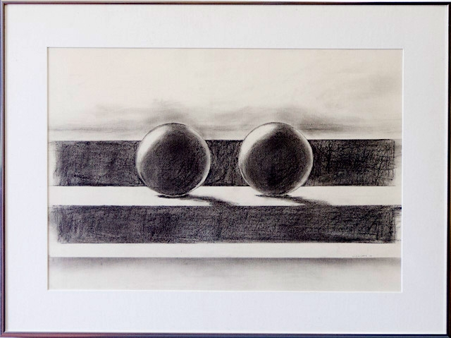 Two Spheres by Danny Clements, Graphite, $350