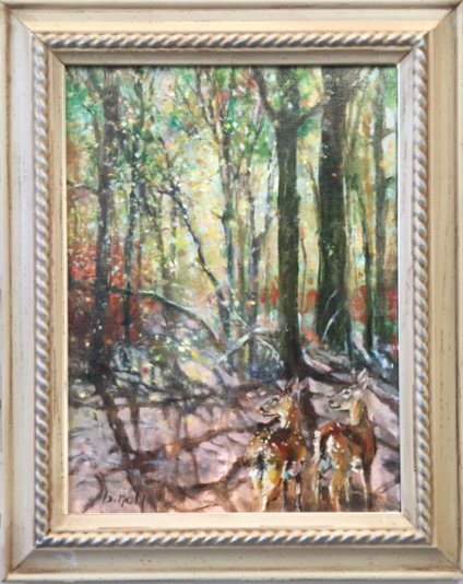 Third Place - Falling Leaves by Barbara Noll, Oil, $250