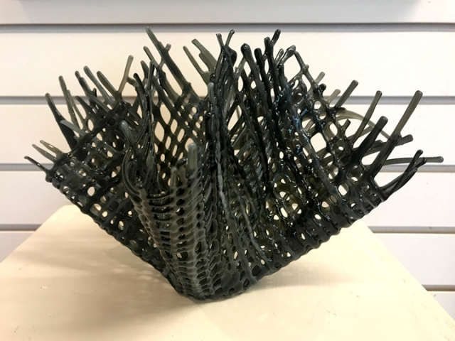 """Third Place - Hal Stark, """"Eagle Nest"""", Fused Glass, $60"""